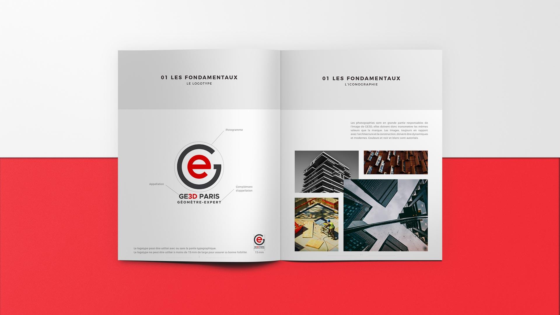 charte graphique GE3D géomètres experts Paris