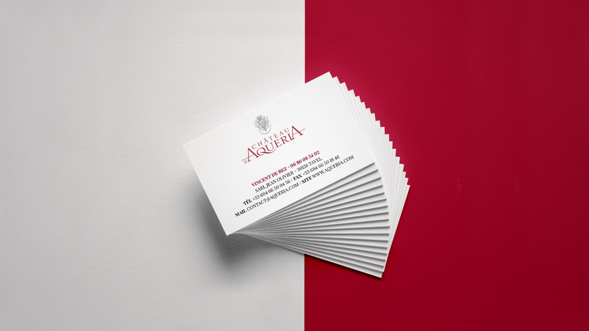 cartes de visite chateau d'Aqueria Avignon